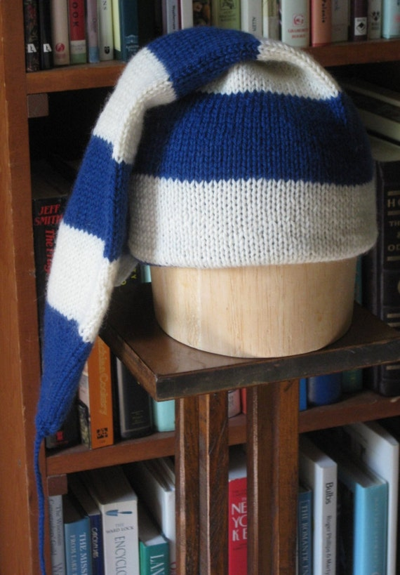Reserved for Zachary Curcija - Blue and White Wool Voyageur Cap