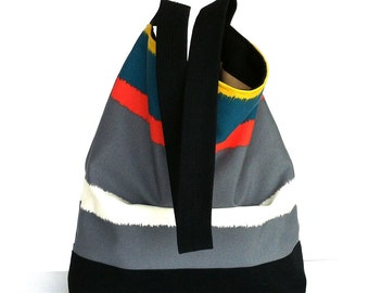 Striped hobo bag , cotton shoulder purse , vegan slouch multicolor purse  for women , travel tote bag , shoulder purse , Canadian shop