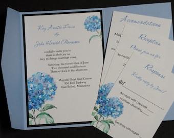 Blue Hydrangea, pocketfold wedding invitation suite, sample set