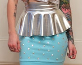 Silver and Studs Suspender Ruffle Skirt in Blue MADE TO ORDER