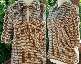 PISMO Beach 1960's 70's Men's Vintage White Yellow + Brown Plaid Striped Loose Knit Shirt with Zipper // Pointed Collar // size Large