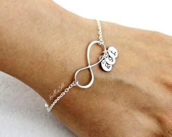 Personalized Infinity Bracelet and Initial, Family Monogram Charm Bracelet, Mothers Bracelet, BFF, Silver Sister Jewelry