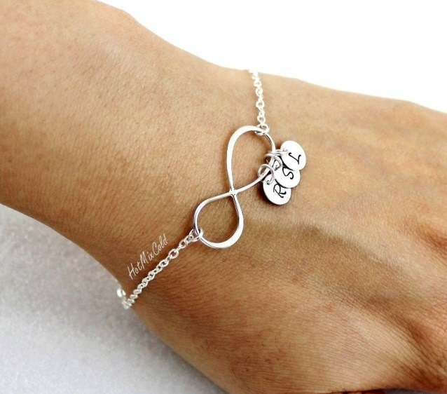 Personalized Charm Bracelet: Personalized Infinity Bracelet And Initial Family Monogram