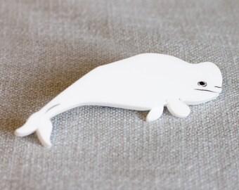 Whale brooch - Beluga brooch - Whale Jewellery - Beluga Whale brooch - Beluga Gift - Whale Gift - Whale Jewelry - Animal brooch