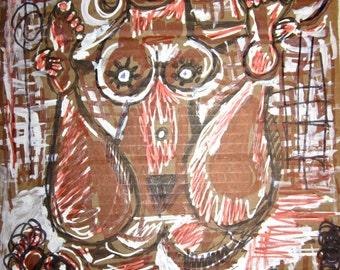 Original Funky Nude Yoga Drawing Folk Art Pen on  recycled Cardboard Hippie