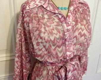 Vintage 80s feather textile pixie dress
