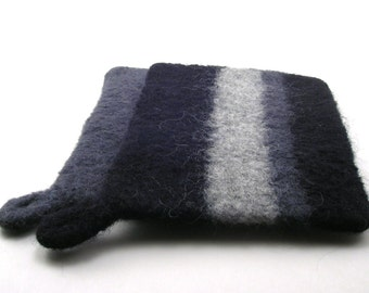 Wool felted pot holders - felted trivets - pot holder set - black, charcoal and gray