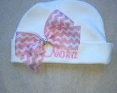 Custom size Boutique Baby girl newborn beanie shower gift infant girl wholesale hat personalized hat beanie match layette big bow hospital