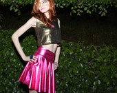 RESERVED LISTING - Vivid Magenta Pink Metallic Lamé Skater Mini Skirt - Handmade Couture, Custom Sizing, Stretch Spandex
