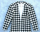 Black & White Checkerboard Blazer - Vintage 1980s Women's Houndstooth Jacket - Women's Size 8 - Retro Eighties Fashion