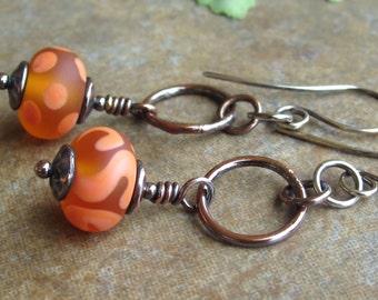 Orange Copper Earrings Lampwork Glass Beads Copper Hoops Sterling Silver On Sale