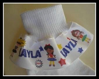 Ruffle Socks Personalized  for Hero  Girls in Super Tutus....Toddler Girl