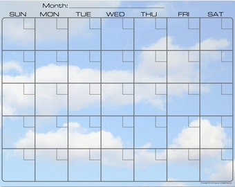 Fluffy White Clouds and Blue Sky Dry Erase Monthly Calendar Fridge Magnet #3520