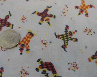Vintage Estate 40s 50s Juvenile Novelty Clowns Cotton Fabric Craft Quilt Sewing