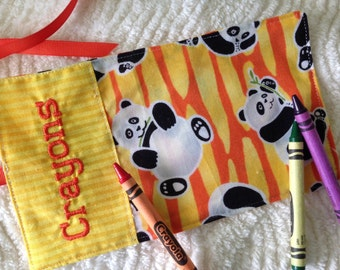 Panda Crayon Roll Up Personalized Crayon Wrap