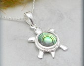 Turtle Necklace, Turtle Jewelry, Sterling Silver, Abalone Pendant, Shell Necklace, Beach Jewelry, Tortoise Necklace (SN587)