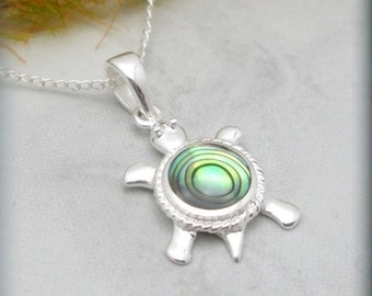 Sea Turtle Necklace, Turtle Jewelry, Sterling Silver, Abalone Pendant, Summer Necklace, Beach Jewelry, Tortoise Necklace, Ocean Lover SN587