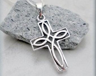 Celtic Cross Necklace, Easter Necklace, Easter Gift, Sterling Silver, Cross Pendant, Irish Jewelry, Celtic Jewelry, Religious Faith (SN689)