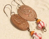 Pressed Penny Minnie Mouse Lampwork Earrings, Artisan Handmade SRA LETEAM Glassymom