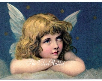 Angel in sky.Darling...Just darling.Vintage inspired.Instant digital download.Cards, tags,decoupage,altered art