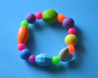 Multiple textured Teething Silicone bead bracelet adult size