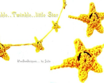crochet pattern instant digital download star garland...twinkle twinkle little star