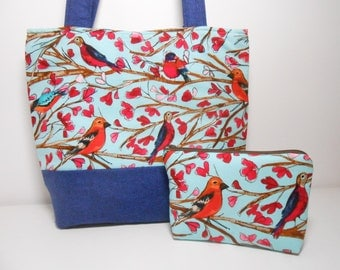 Blue Bird Medium Tote Bag Set with Zipper Pouch Medium Shoulder Purse with Pockets