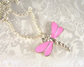 Girl's Pink Dragonfly and Crystal Necklace