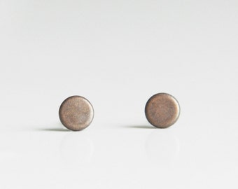 5mm Mini Disc Geometric Antique Copper Flat Metal Stud Earrings. Surgical Steel Earrings Post. Gift for Her. Gift for Him