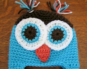 Baby Owl Hat Crochet  in Blue and Brown size 3 to 6 months Ready to Ship