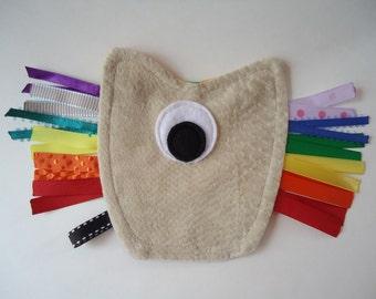 Rainbow ribbon tag monster toy, ribbon tag pocket toy, sensory ribbon tag lovey, monster tag toy, ribbon tag lovey, ribbon tag, tag toy RTS