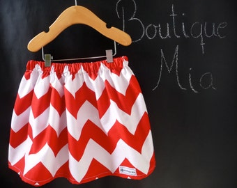 BUY 2 get 1 FREE - Skirt - Riley Blake - Red and White Chevron - Pick the size Newborn up to 14 Years by Boutique Mia