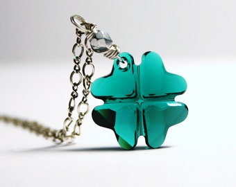 Emerald Green Shamrock Necklace Swarovski Kelly Grass Irish Ireland Oxidized Bright Sterling Silver St. Patrick's Day Lucky Clover Luck