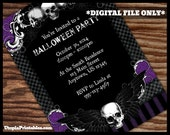 Printable Halloween Gothic Skulls Invitation