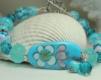 MORNING DEW Handmade Lampwork Bead Bracelet