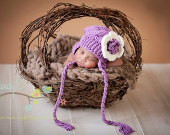 Newborn Baby Girl Hat - Knit Baby Hat With Flower - Knit Newborn Hat - READY TO SHIP