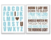 Boys Wall Art - Bedtime Prayer, Alphabet I Love You, Light Blue, Brown Nursery Art Print Set - 8x10 Now I Lay Me Down to Sleep Kids Quote
