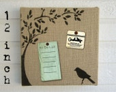 Bird and Tree -  Burlap over Cork Message Board 12 inch - Cork Board,  Memo Board, Pin Board, Bulletin Board
