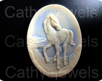 Unicorn Portrait Cameo in Hazy Blue