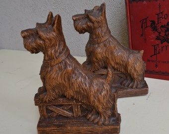 Vintage Scottie Dog Wood Bookends, Pair, Syroco