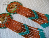 Turquoise and Rust rosette beaded beautiful Red Fox earrings