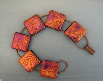 Plum Glass Bracelet, Fused Glass Link Bracelet, Dichroic Fused Glass Link Bracelet, Dichroic Jewlery - Copper Flower Bracelet
