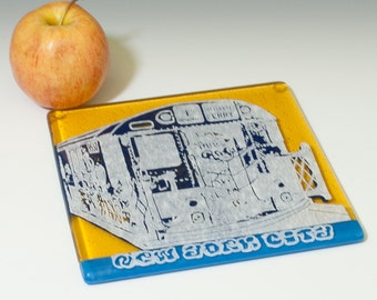 Greetings from New York City Fused Glass Trivet | Vintage Subway