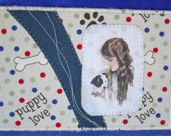 Puppy fabric postcard. Dog postcard. Fiber art. Fabric postcard.