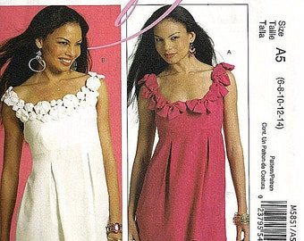 mcCall's cRafty misses tunic pattern M5851 UNCUT tunic pattern with yo yos or bows size 6 - 14