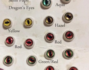 Hand Made Dragon Eyes 6mm - Yellow - Fantasy - Character - Creature - Reptile OOAK