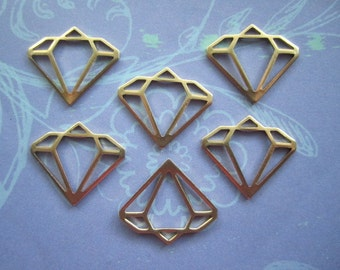 Diamond CHARMS Brass Findings on Etsy x 6