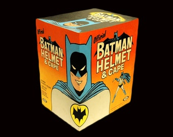 1966 Ideal BATMAN HELMET and CAPE  box reproduction,  beautiful,  colorful,  ... Need a place for your Batman Helmet and cape ??