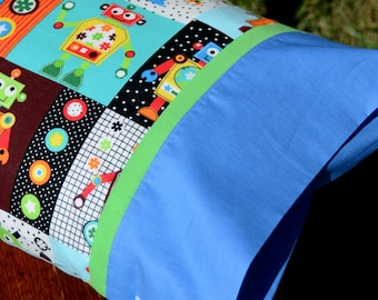 PLAYFUL ROBOTS, Travel/Toddler Pillowcase, little boys bedding