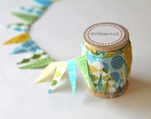 Boys mix, green, Blue, Yellow Cake Bunting. fabric mini Ribbon. Cake toper and invitation bunting
